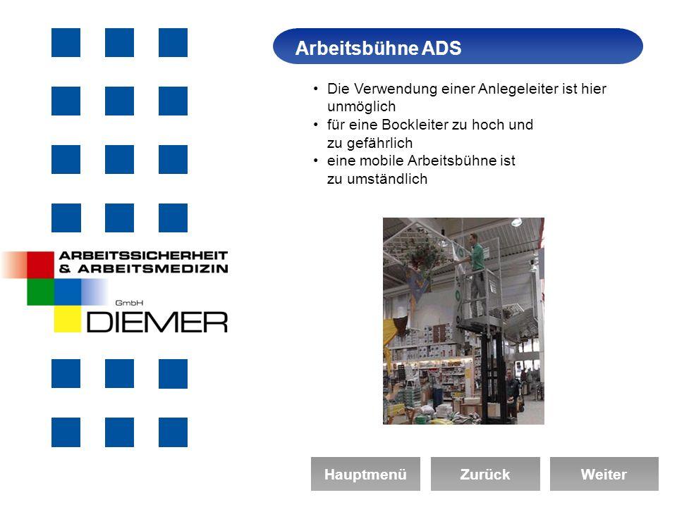 ArbeitssicherheitArbeitsbühne ADS HauptmenüZurückWeiter Die Verwendung einer Anlegeleiter ist hier unmöglich für eine Bockleiter zu hoch und zu gefährlich eine mobile Arbeitsbühne ist zu umständlich