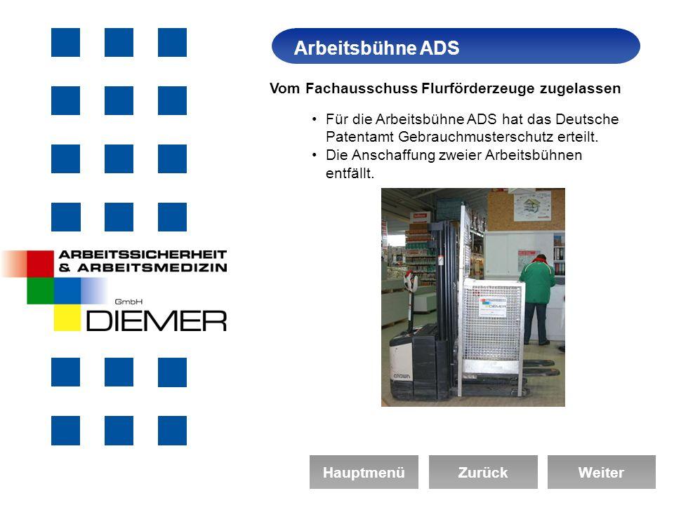 ArbeitssicherheitArbeitsbühne ADS HauptmenüZurückWeiter Vom Fachausschuss Flurförderzeuge zugelassen Für die Arbeitsbühne ADS hat das Deutsche Patentamt Gebrauchmusterschutz erteilt.