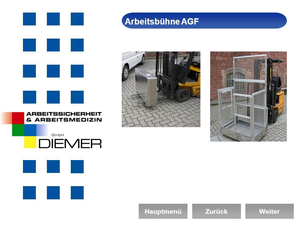 ArbeitssicherheitArbeitsbühne AGF HauptmenüZurückWeiter