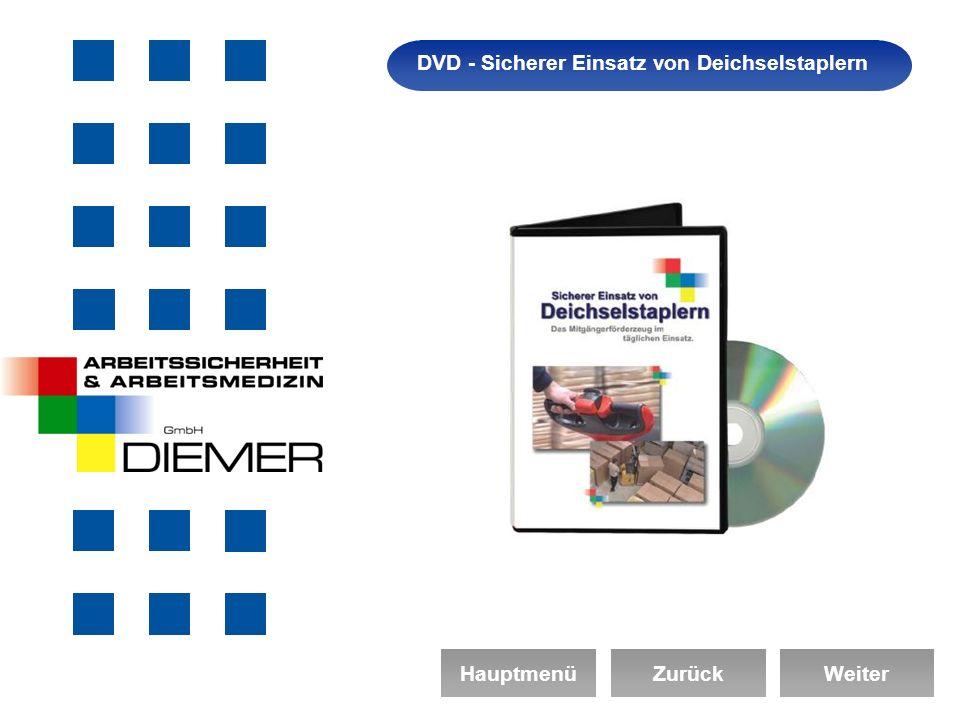 Arbeitssicherheit DVD - Sicherer Einsatz von Deichselstaplern HauptmenüZurückWeiter
