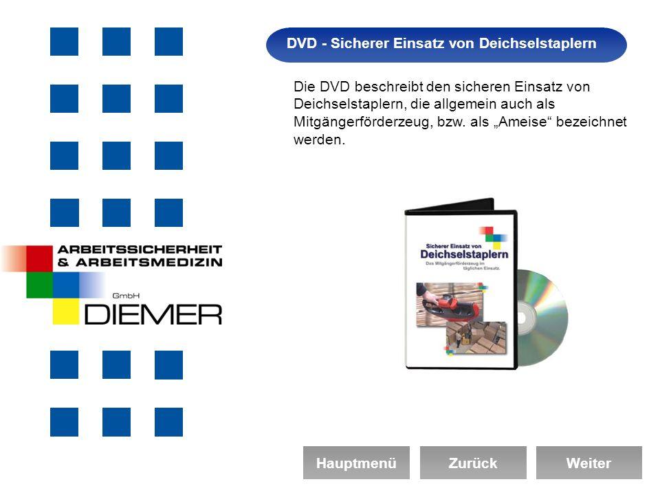 Arbeitssicherheit DVD - Sicherer Einsatz von Deichselstaplern HauptmenüZurückWeiter Die DVD beschreibt den sicheren Einsatz von Deichselstaplern, die allgemein auch als Mitgängerförderzeug, bzw.