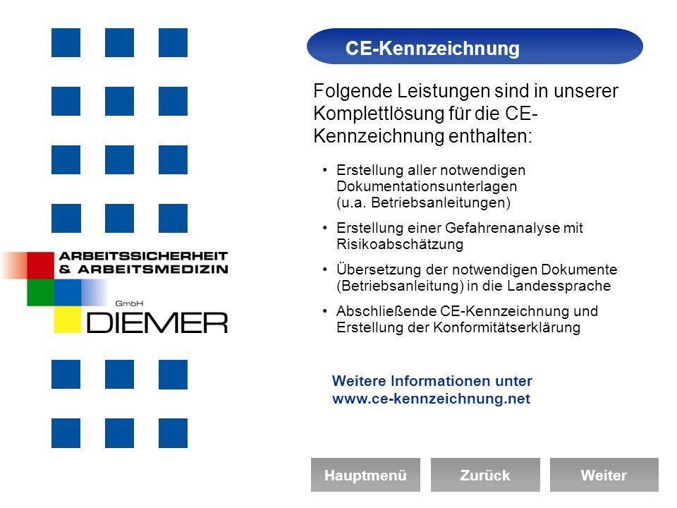 Arbeitssicherheit CE-Kennzeichnung Folgende Leistungen sind in unserer Komplettlösung für die CE- Kennzeichnung enthalten: Erstellung aller notwendigen Dokumentationsunterlagen (u.a.