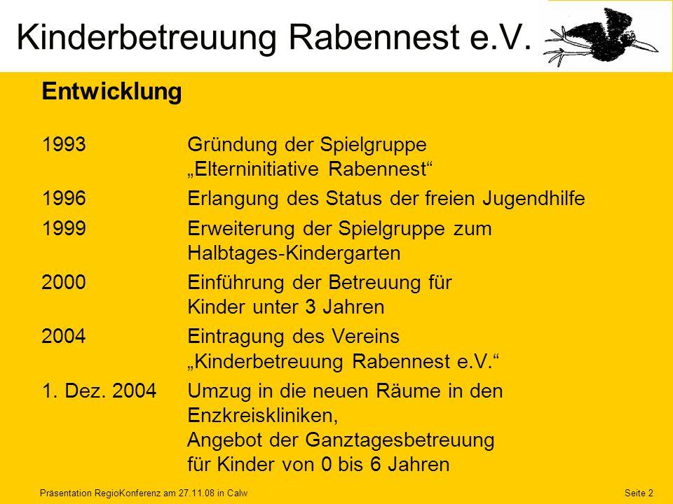 Präsentation RegioKonferenz am 27.11.08 in CalwSeite 2 Kinderbetreuung Rabennest e.V. Entwicklung 1993Gründung der Spielgruppe Elterninitiative Rabenn