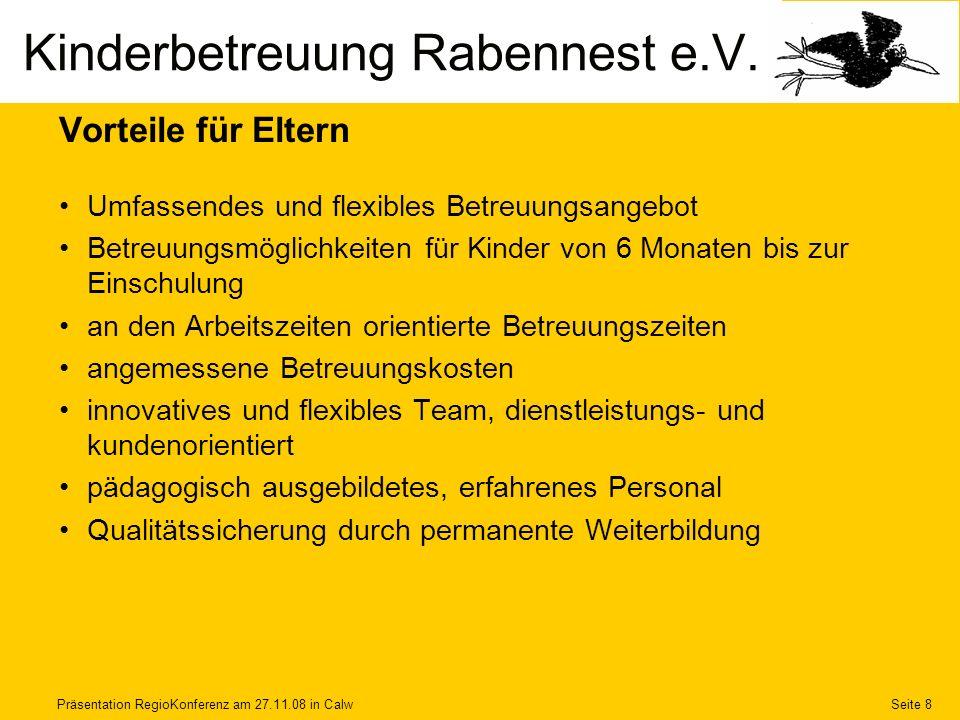 Präsentation RegioKonferenz am 27.11.08 in CalwSeite 9 Finanzierung Jahresbudget250.000 EUR von Land, Kreis, Kommune147.000 EUR von Eltern85.000 EUR von Firmen18.000 EUR Kinderbetreuung Rabennest e.V.