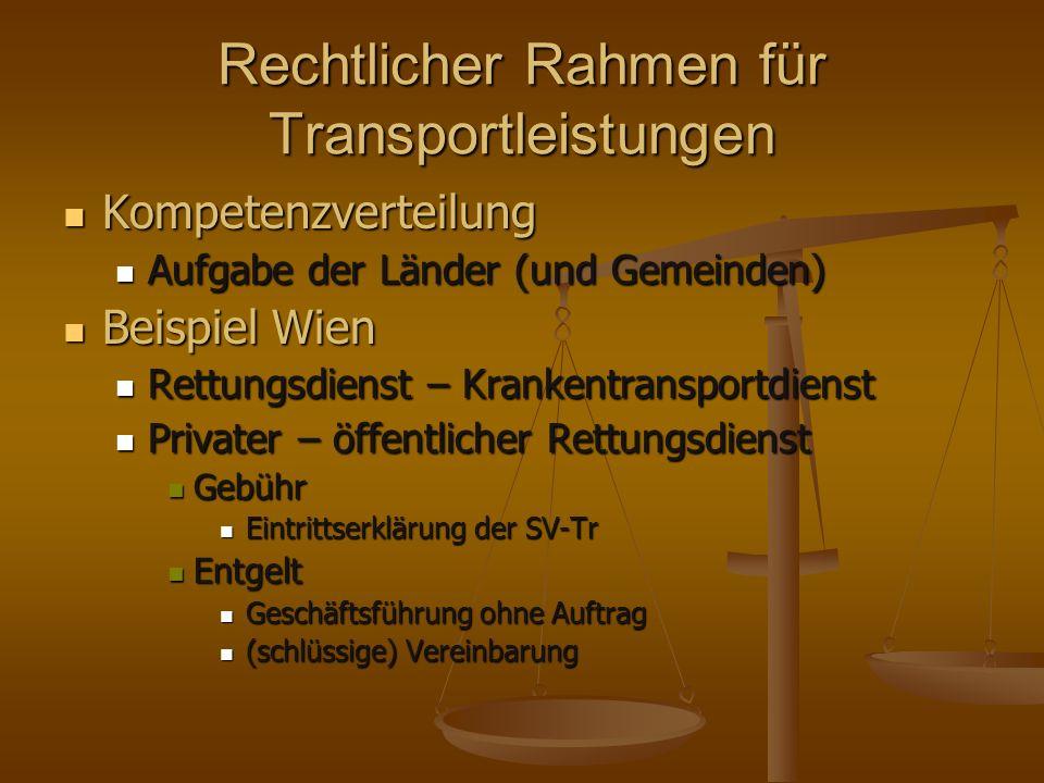 Rechtlicher Rahmen für Transportleistungen Kompetenzverteilung Kompetenzverteilung Aufgabe der Länder (und Gemeinden) Aufgabe der Länder (und Gemeinde