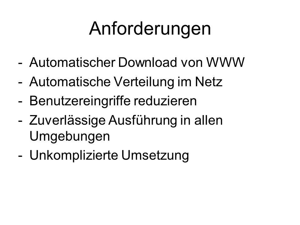 Anforderungen -Automatischer Download von WWW -Automatische Verteilung im Netz -Benutzereingriffe reduzieren -Zuverlässige Ausführung in allen Umgebun