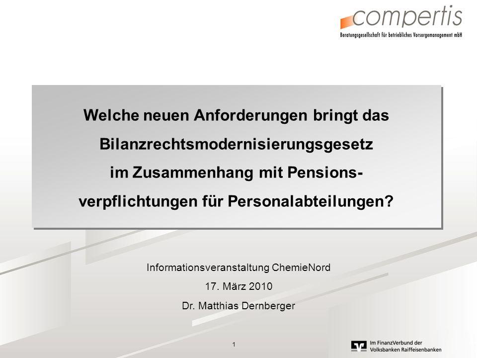 1 Welche neuen Anforderungen bringt das Bilanzrechtsmodernisierungsgesetz im Zusammenhang mit Pensions- verpflichtungen für Personalabteilungen? Welch