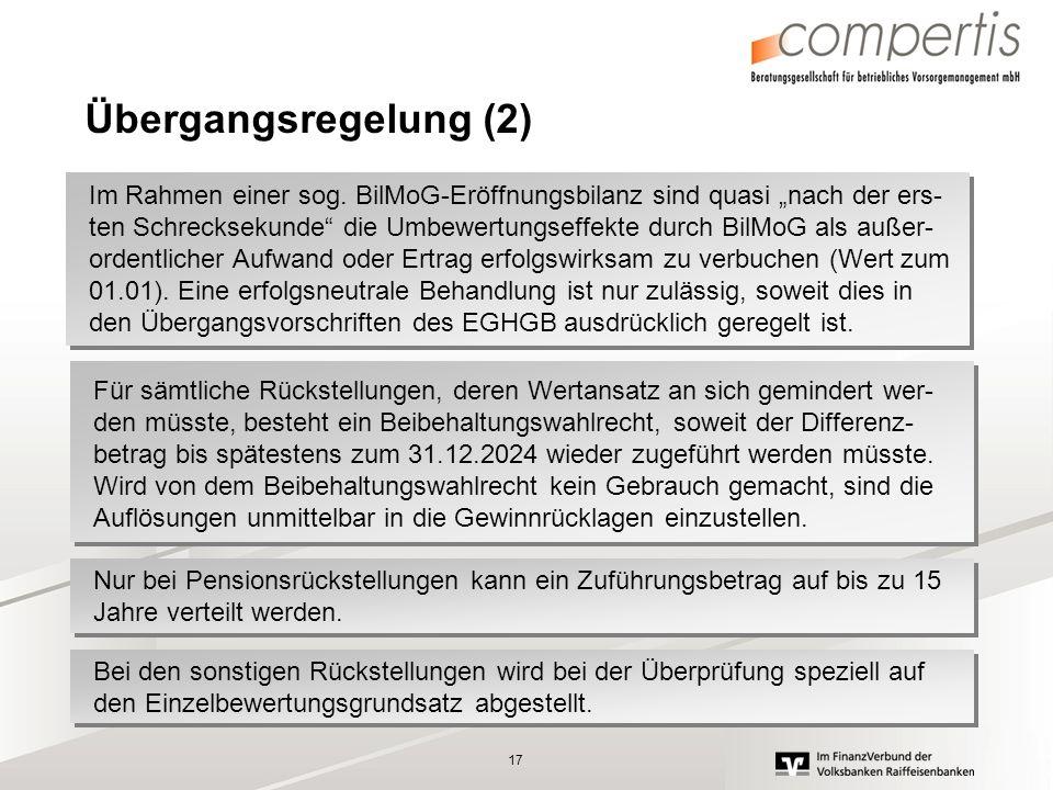 17 Übergangsregelung (2) Im Rahmen einer sog. BilMoG-Eröffnungsbilanz sind quasi nach der ers- ten Schrecksekunde die Umbewertungseffekte durch BilMoG