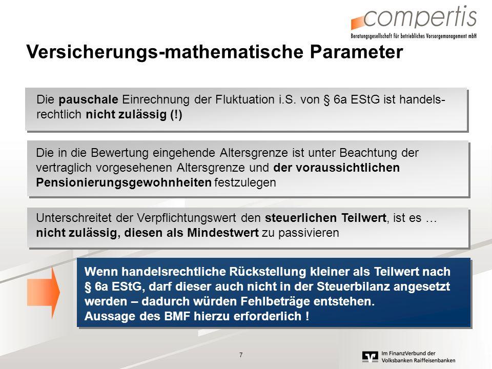 7 Versicherungs-mathematische Parameter Die pauschale Einrechnung der Fluktuation i.S. von § 6a EStG ist handels- rechtlich nicht zulässig (!) Die in