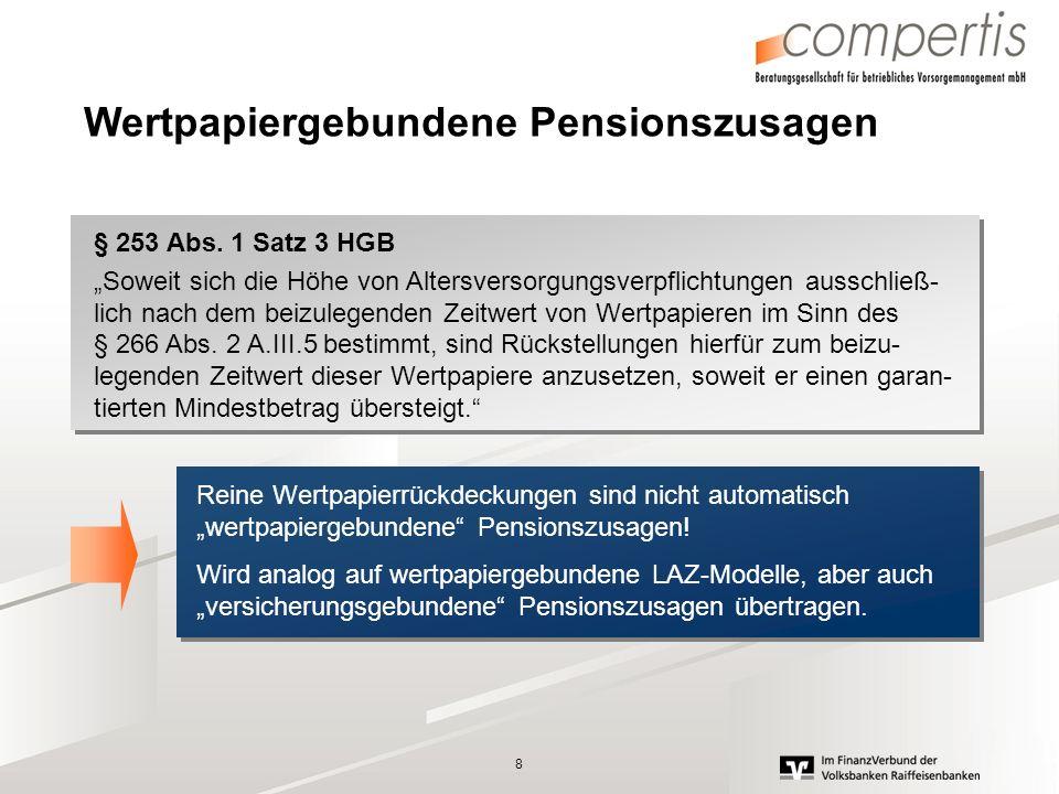8 Wertpapiergebundene Pensionszusagen § 253 Abs. 1 Satz 3 HGB Soweit sich die Höhe von Altersversorgungsverpflichtungen ausschließ- lich nach dem beiz