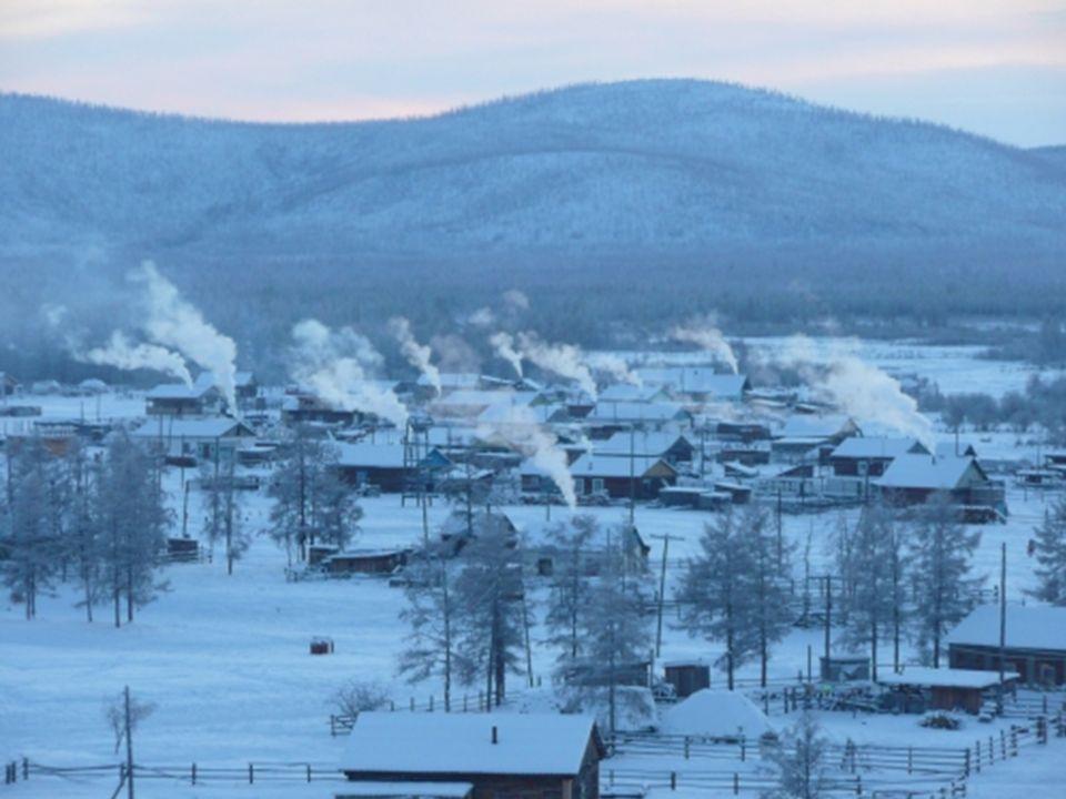 Die Stadt liegt in der russiischen Republik Yakutia in Sibirien, ca. 750 m über Meer. Der Winter dauert 9 Monate.
