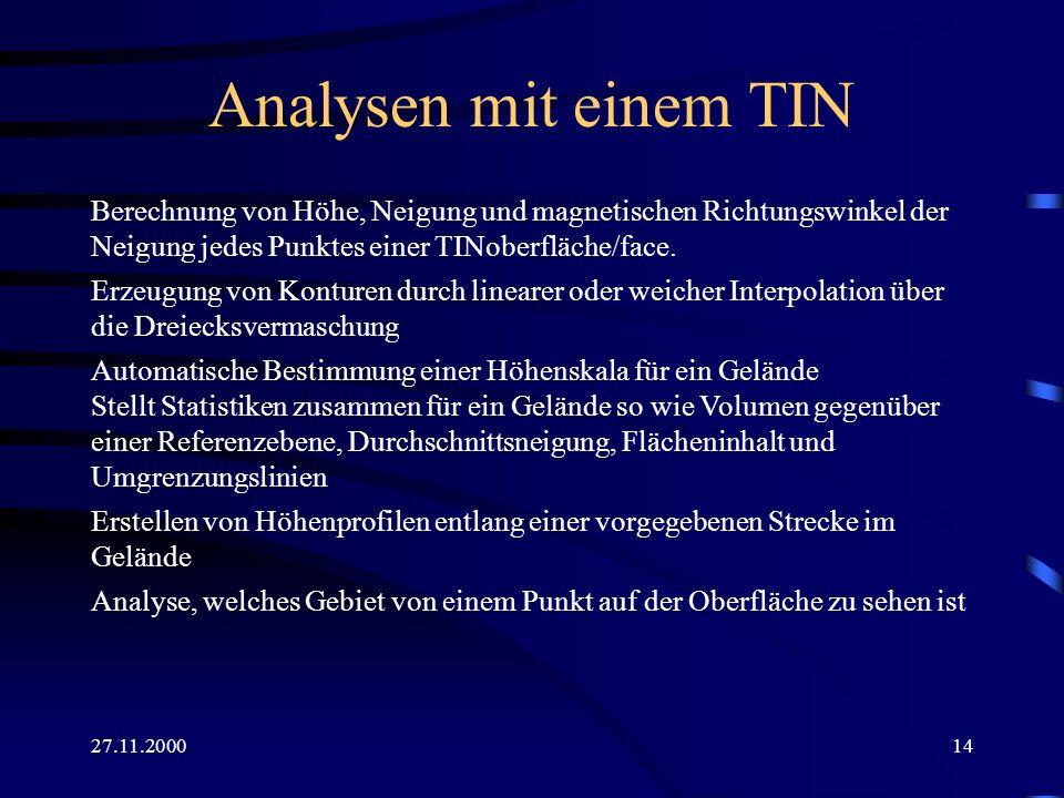 27.11.200014 Analysen mit einem TIN Berechnung von Höhe, Neigung und magnetischen Richtungswinkel der Neigung jedes Punktes einer TINoberfläche/face.