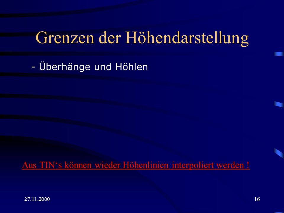 27.11.200016 Grenzen der Höhendarstellung - Überhänge und Höhlen Aus TINs können wieder Höhenlinien interpoliert werden !
