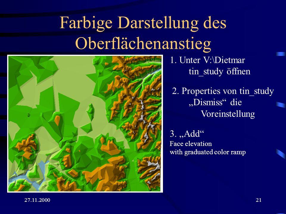 27.11.200021 Farbige Darstellung des Oberflächenanstieg 1. Unter V:\Dietmar tin_study öffnen 2. Properties von tin_study Dismiss die Voreinstellung 3.
