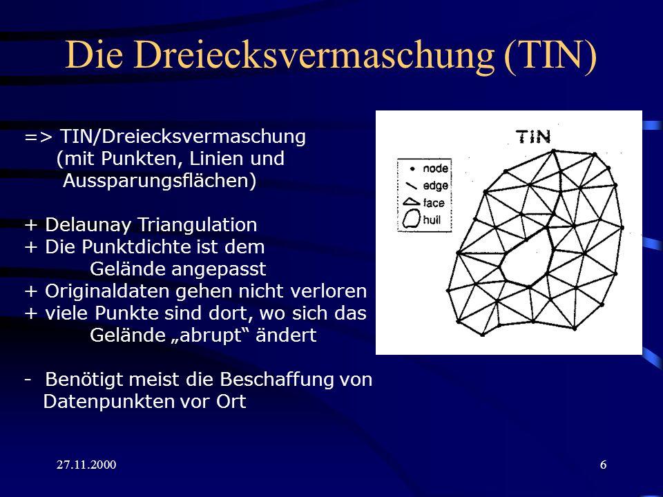 27.11.20006 Die Dreiecksvermaschung (TIN) => TIN/Dreiecksvermaschung (mit Punkten, Linien und Aussparungsflächen) + Delaunay Triangulation + Die Punkt