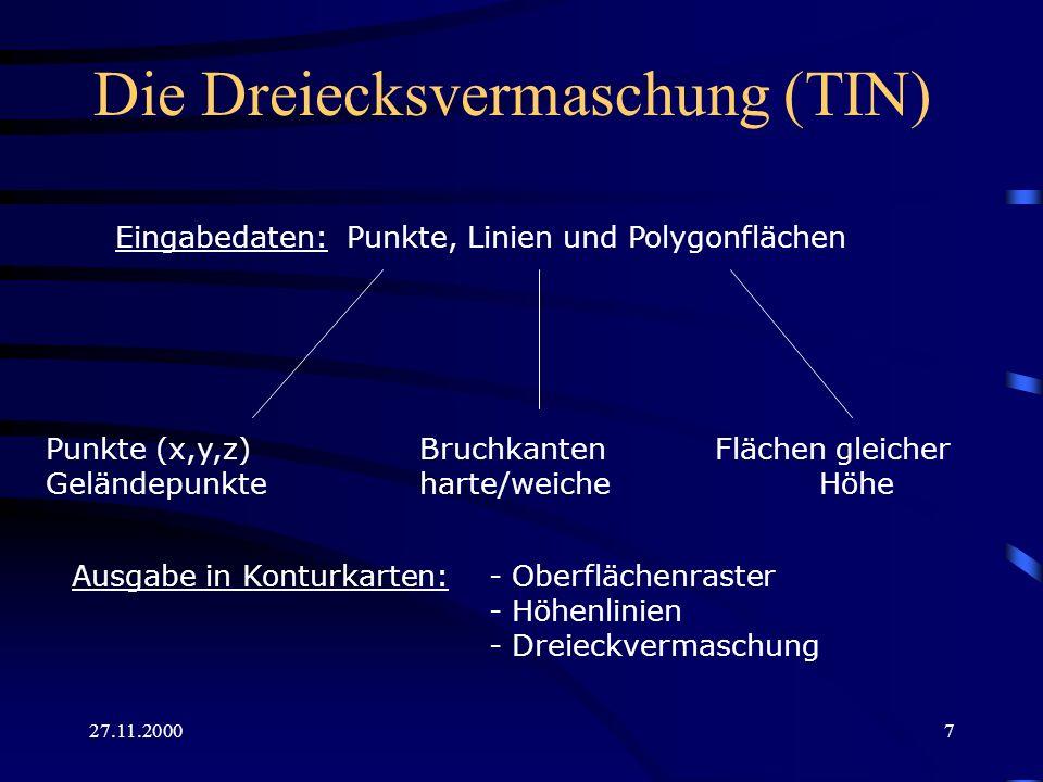 27.11.200018 Geländedarstellungen unter ArcInfo 8.0 Edges with the same symbol => Kantendarstellung Face aspect [...] => Richtung des Gefälles [farbig] Face elevation [...] => Oberflächenanstieg [farbig] Face slope [...] => Oberflächenneigung [farbig] Faces with the same symbol => Oberfläche einfarbig Node elevation [...] => NN-Höhe der nodes [farbig] Nodes with the same symbol =>Nodes einfarbig