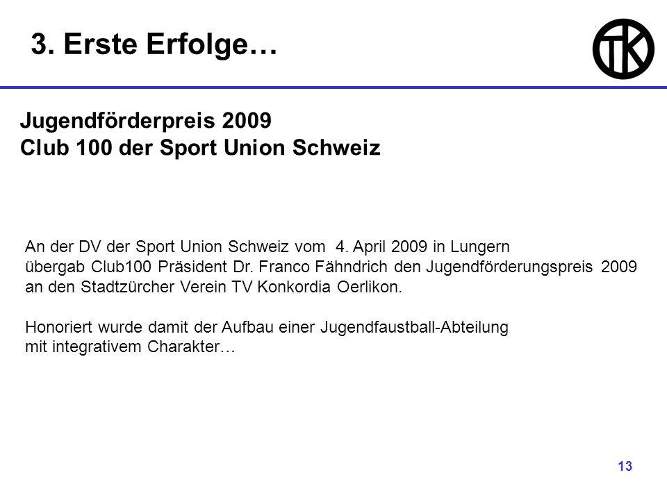 13 Jugendförderpreis 2009 Club 100 der Sport Union Schweiz An der DV der Sport Union Schweiz vom 4.