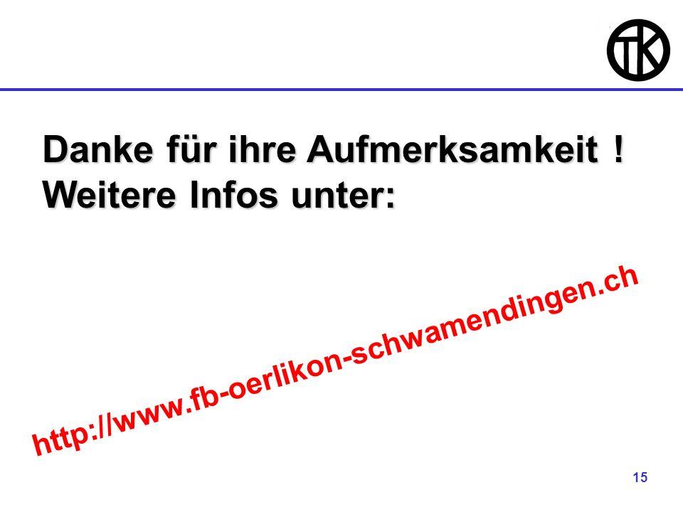 15 Danke für ihre Aufmerksamkeit ! Weitere Infos unter: http://www.fb-oerlikon-schwamendingen.ch