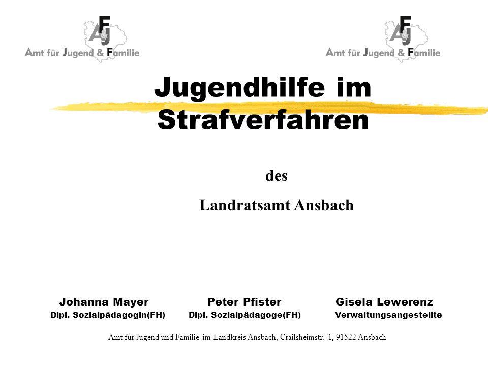 Jugendhilfe im Strafverfahren Johanna Mayer Peter Pfister Gisela Lewerenz Dipl. Sozialpädagogin(FH) Dipl. Sozialpädagoge(FH) Verwaltungsangestellte Am