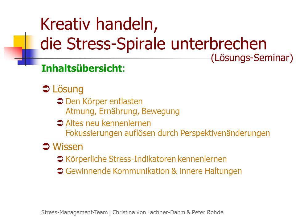 Stress-Management-Team | Christina von Lachner-Dahm & Peter Rohde Kreativ handeln, die Stress-Spirale unterbrechen Lösung Den Körper entlasten Atmung,