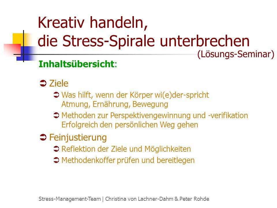 Stress-Management-Team | Christina von Lachner-Dahm & Peter Rohde Kreativ handeln, die Stress-Spirale unterbrechen Ziele Was hilft, wenn der Körper wi