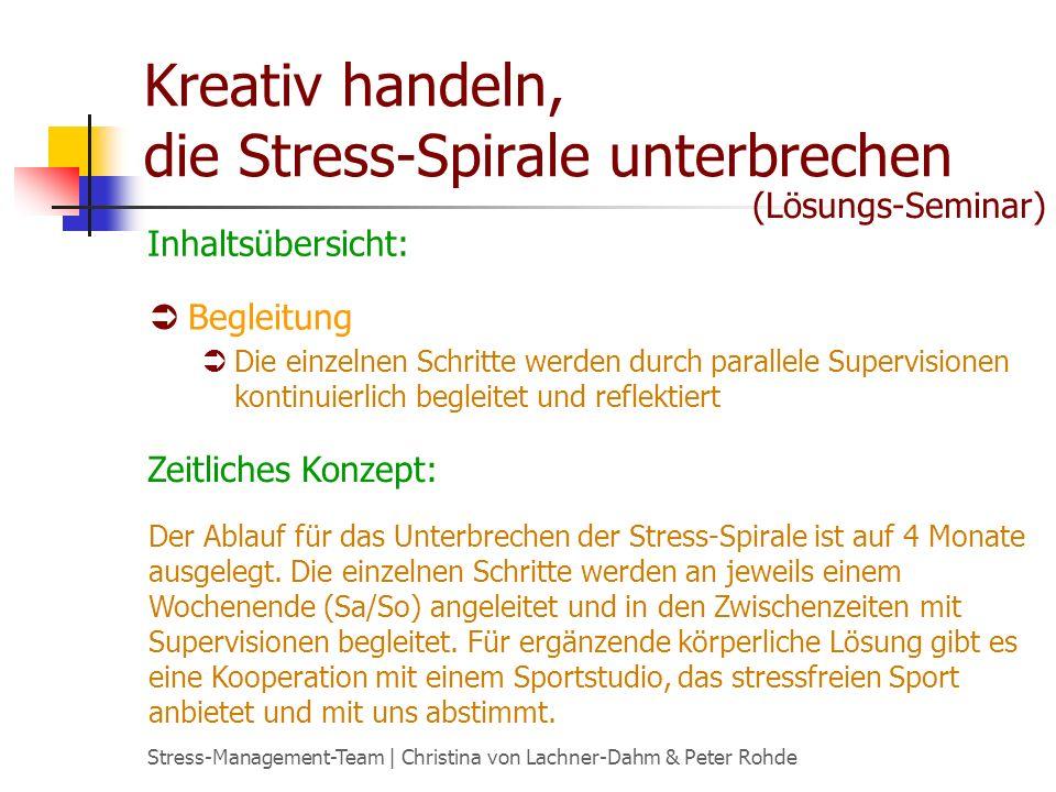 Stress-Management-Team | Christina von Lachner-Dahm & Peter Rohde Kreativ handeln, die Stress-Spirale unterbrechen Begleitung Die einzelnen Schritte w