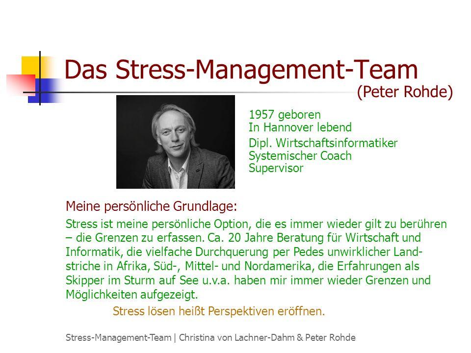 Stress-Management-Team | Christina von Lachner-Dahm & Peter Rohde Das Stress-Management-Team 1957 geboren In Hannover lebend Dipl. Wirtschaftsinformat