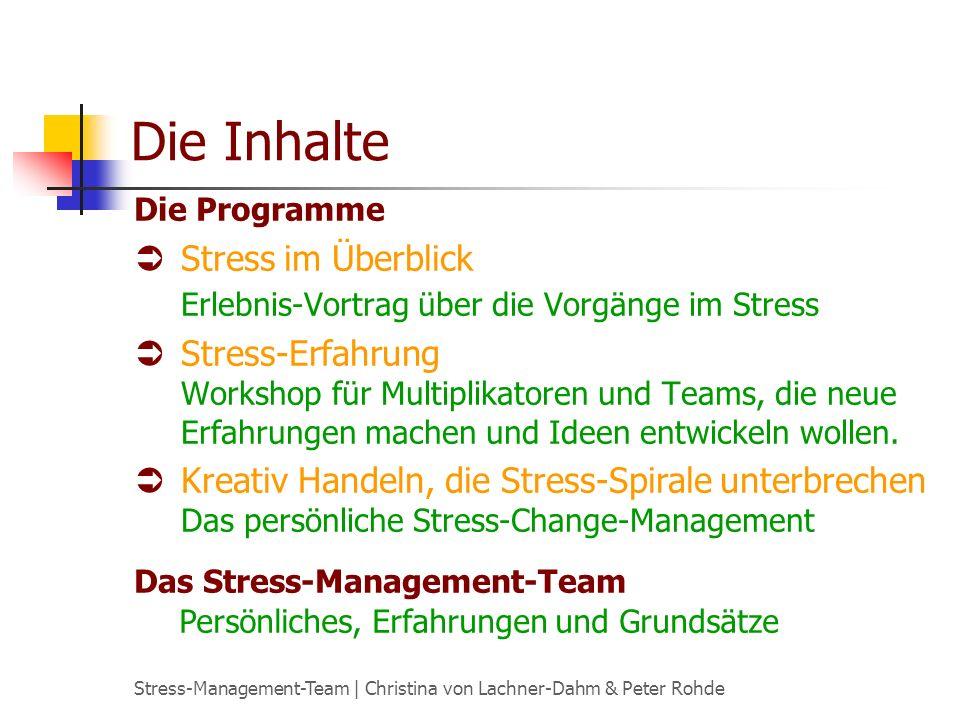 Stress-Management-Team | Christina von Lachner-Dahm & Peter Rohde Die Inhalte Stress im Überblick Erlebnis-Vortrag über die Vorgänge im Stress Stress-Erfahrung Workshop für Multiplikatoren und Teams, die neue Erfahrungen machen und Ideen entwickeln wollen.