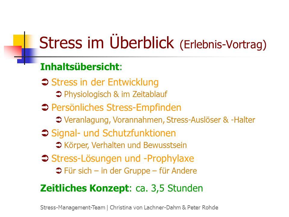 Stress-Management-Team   Christina von Lachner-Dahm & Peter Rohde Stress-Erfahrung (Workshop) Ein Workshop zur Erweiterung der Stress-Kompetenz.