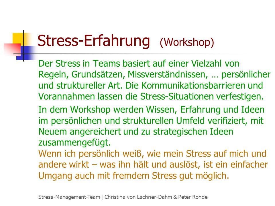 Stress-Management-Team   Christina von Lachner-Dahm & Peter Rohde Stress-Erfahrung (Workshop) Ein Leben ohne Stress Fakten über die Faktoren von Stress Auslöser kennen und verändern Auslöser kennenlernen, ausprobieren und modifizieren Stress-Wirkung persönlich und für Andere Signal- und Schutzfunktionen Lösungen initiieren Hemmschuhe oder wie ich immer alles richtig machen will Andere im Stress erleben und Auswege initiieren Inhaltsübersicht:
