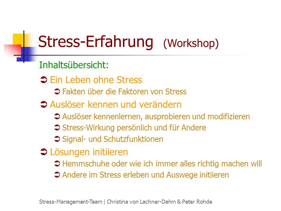 Stress-Management-Team | Christina von Lachner-Dahm & Peter Rohde Stress-Erfahrung (Workshop) Ein Leben ohne Stress Fakten über die Faktoren von Stress Auslöser kennen und verändern Auslöser kennenlernen, ausprobieren und modifizieren Stress-Wirkung persönlich und für Andere Signal- und Schutzfunktionen Lösungen initiieren Hemmschuhe oder wie ich immer alles richtig machen will Andere im Stress erleben und Auswege initiieren Inhaltsübersicht: