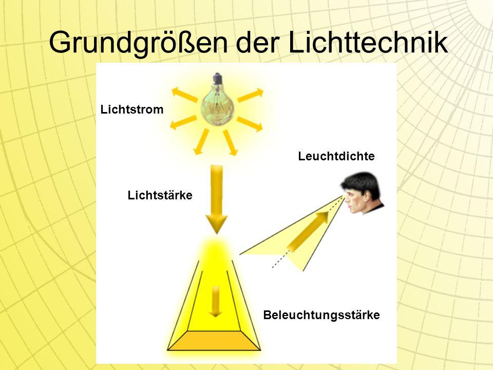 Grundgrößen der Lichttechnik Lichtstrom Lichtstärke Beleuchtungsstärke Leuchtdichte