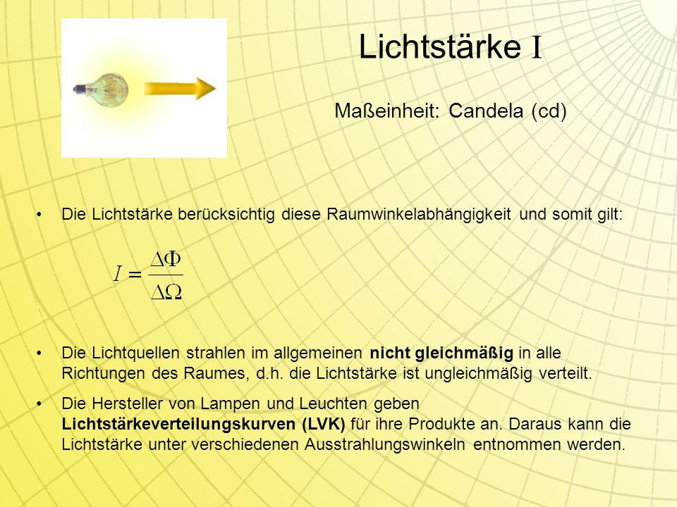 Die Lichtquellen strahlen im allgemeinen nicht gleichmäßig in alle Richtungen des Raumes, d.h.