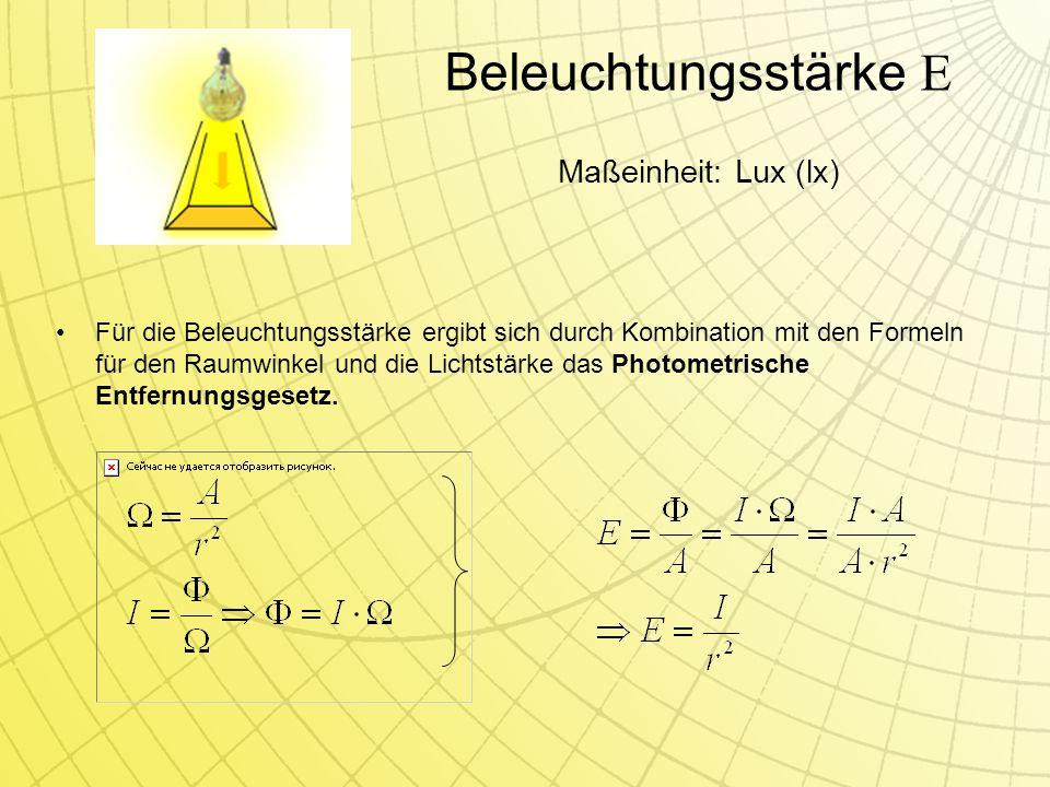 Beleuchtungsstärke E Für die Beleuchtungsstärke ergibt sich durch Kombination mit den Formeln für den Raumwinkel und die Lichtstärke das Photometrische Entfernungsgesetz.