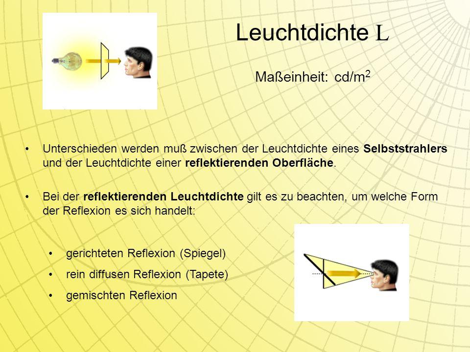 Leuchtdichte L Unterschieden werden muß zwischen der Leuchtdichte eines Selbststrahlers und der Leuchtdichte einer reflektierenden Oberfläche.