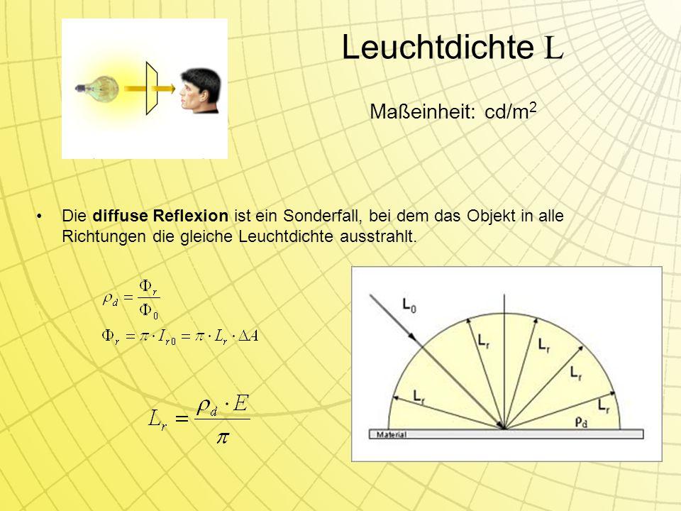 Leuchtdichte L Die diffuse Reflexion ist ein Sonderfall, bei dem das Objekt in alle Richtungen die gleiche Leuchtdichte ausstrahlt.