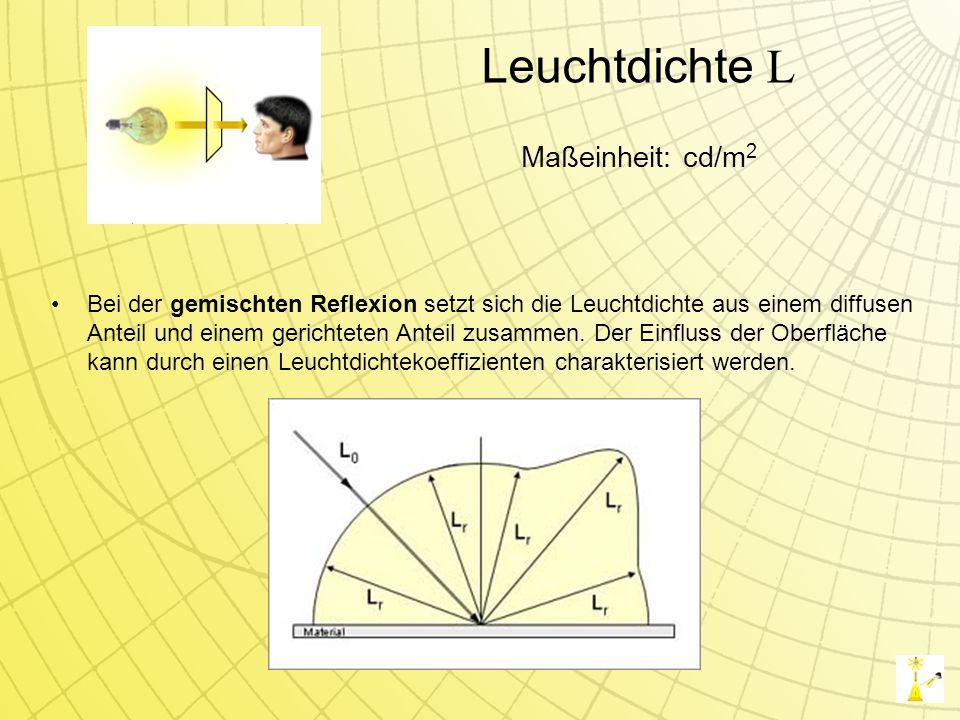 Leuchtdichte L Bei der gemischten Reflexion setzt sich die Leuchtdichte aus einem diffusen Anteil und einem gerichteten Anteil zusammen.