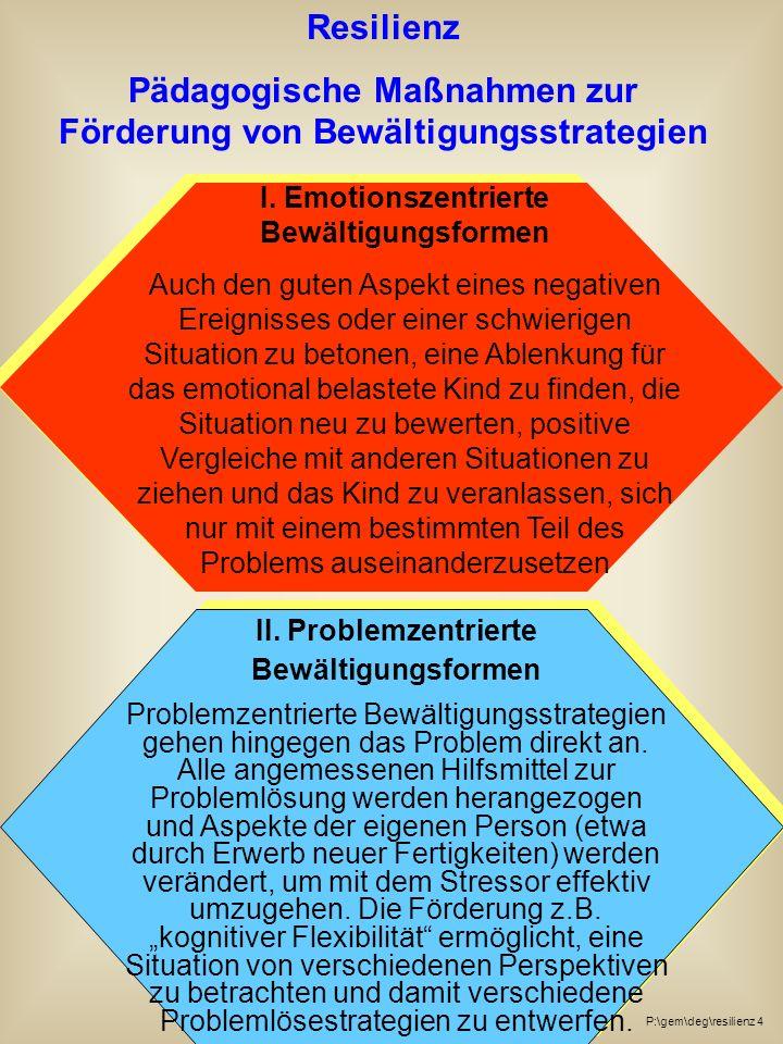 Resilienz Pädagogische Maßnahmen zur Förderung von Bewältigungsstrategien I.