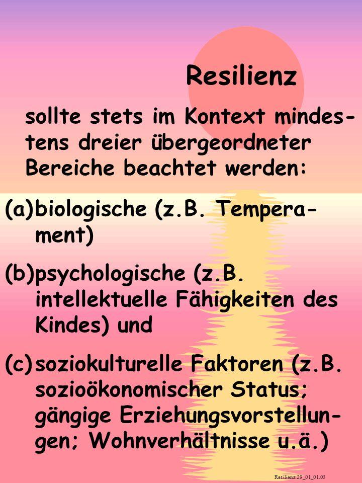 Pädagogische Massnahmen Die Erzieherin sollte dem Kind helfen, 1.spezifische Fertigkeiten zu entwickeln, 2.Interessen und Hobbys zu entwickeln, 3.Soziale Fertigkeiten zu entwickeln und sich auch an anderen zu orientieren, 4.Verantwortung zu übernehmen, 5.Bewältigungsmechanismen zu entwickeln 6sich Ziele zu setzen und zu erreichen 7.eine Einstellung des Bestmöglichen zu entwickeln 8.effektiv mit Veränderungen umzugehen 9.eine bedeutungsvolle Philosophie zu entwickeln 10.und schließlich sollte sie dem Kind Erziehung, Struktur und ein gutes Beispiel bieten.