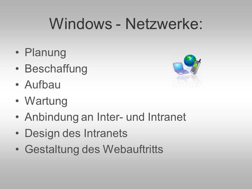 Windows - Netzwerke: Planung Beschaffung Aufbau Wartung Anbindung an Inter- und Intranet Design des Intranets Gestaltung des Webauftritts