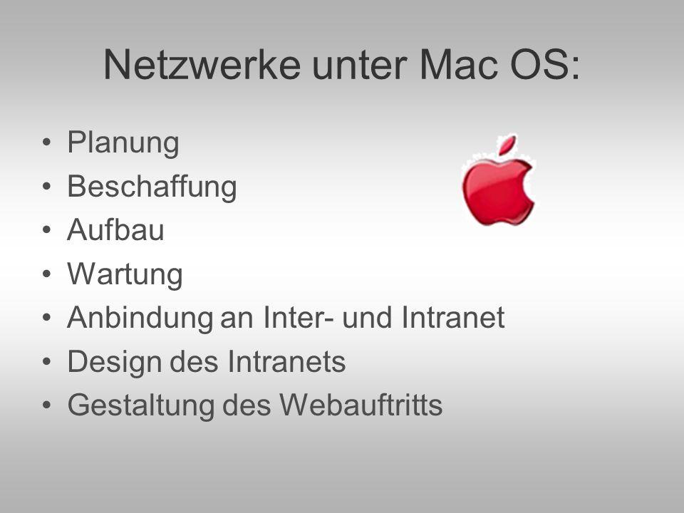 Netzwerke unter Mac OS: Planung Beschaffung Aufbau Wartung Anbindung an Inter- und Intranet Design des Intranets Gestaltung des Webauftritts