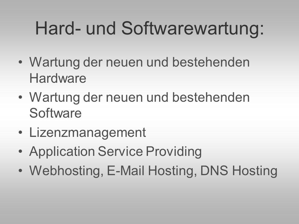 Security – Consulting: Beratung und Umsetzung der Datensicherheit (Backuplösungen mit Datarecovery und Desasterrecovery).