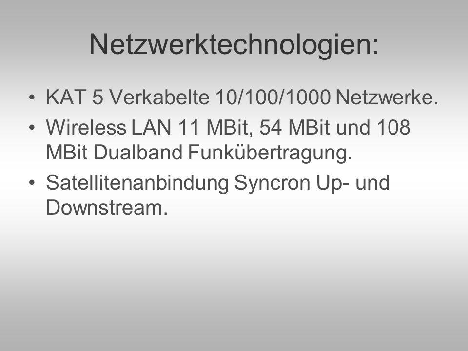 Netzwerktechnologien: KAT 5 Verkabelte 10/100/1000 Netzwerke.