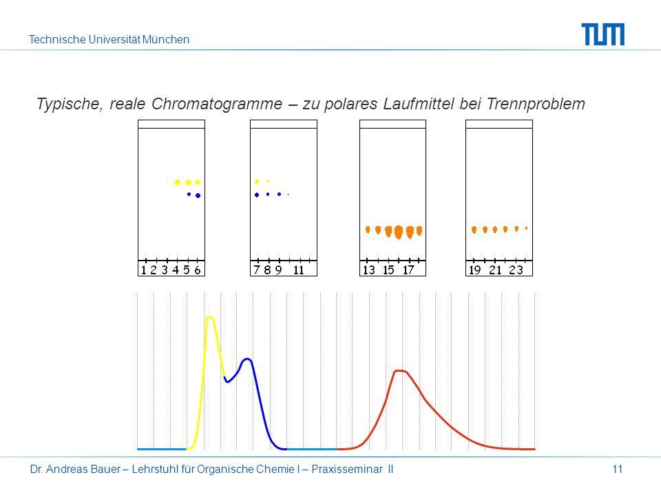 Technische Universität München Dr. Andreas Bauer – Lehrstuhl für Organische Chemie I – Praxisseminar II11 Typische, reale Chromatogramme – zu polares