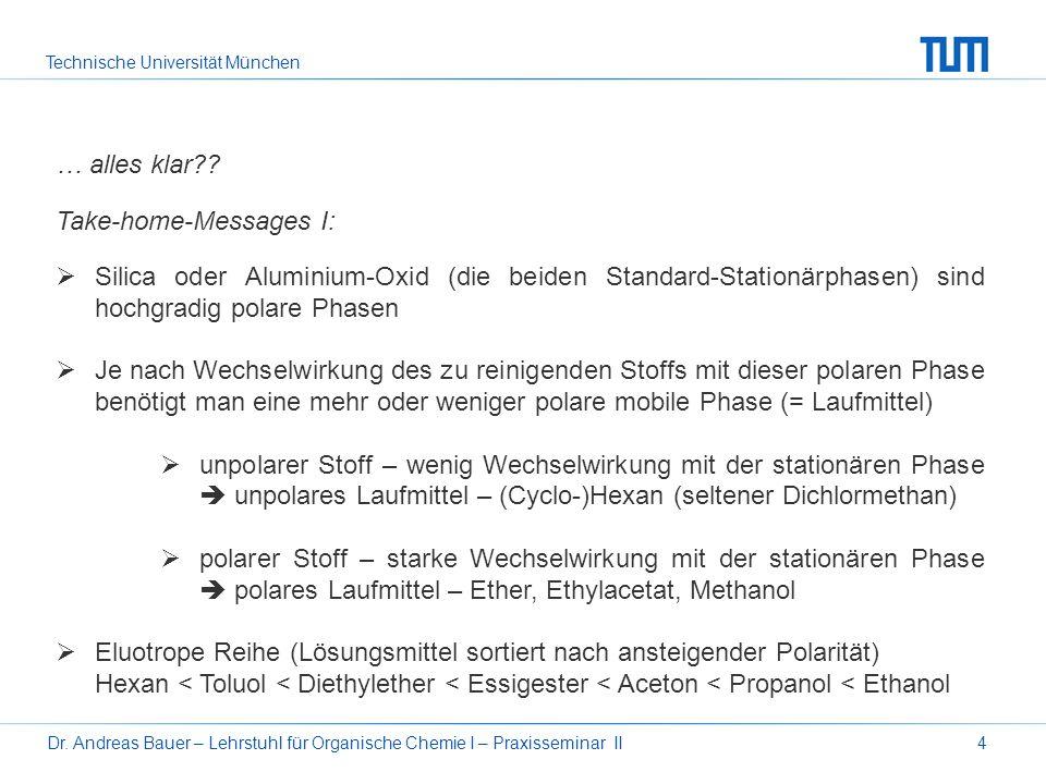 Technische Universität München Dr. Andreas Bauer – Lehrstuhl für Organische Chemie I – Praxisseminar II4 … alles klar?? Take-home-Messages I: Silica o