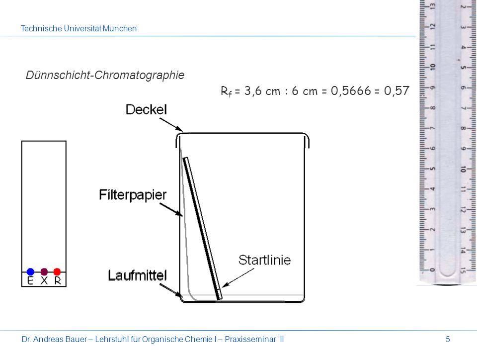 Technische Universität München Dr. Andreas Bauer – Lehrstuhl für Organische Chemie I – Praxisseminar II5 Dünnschicht-Chromatographie R f = 3,6 cm : 6