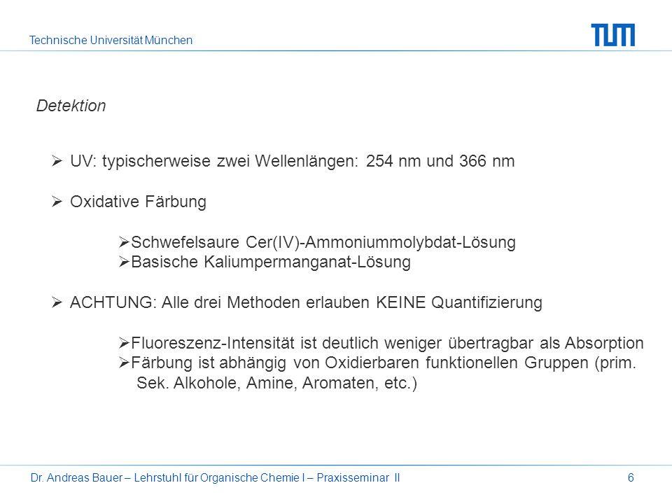 Technische Universität München Dr. Andreas Bauer – Lehrstuhl für Organische Chemie I – Praxisseminar II6 Detektion UV: typischerweise zwei Wellenlänge
