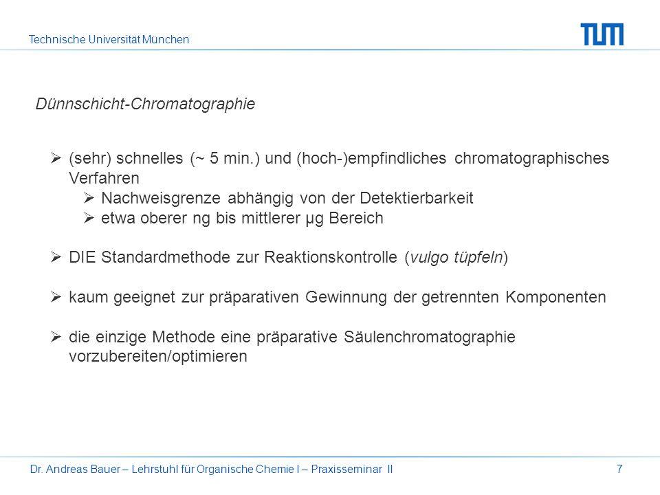 Technische Universität München Dr. Andreas Bauer – Lehrstuhl für Organische Chemie I – Praxisseminar II7 Dünnschicht-Chromatographie (sehr) schnelles