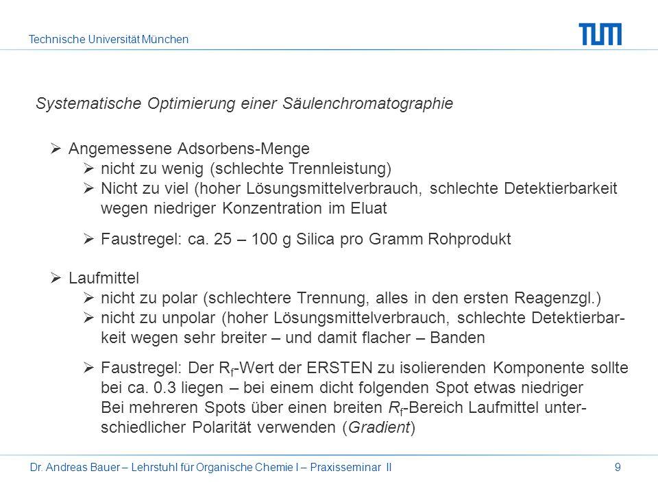 Technische Universität München Dr. Andreas Bauer – Lehrstuhl für Organische Chemie I – Praxisseminar II9 Systematische Optimierung einer Säulenchromat