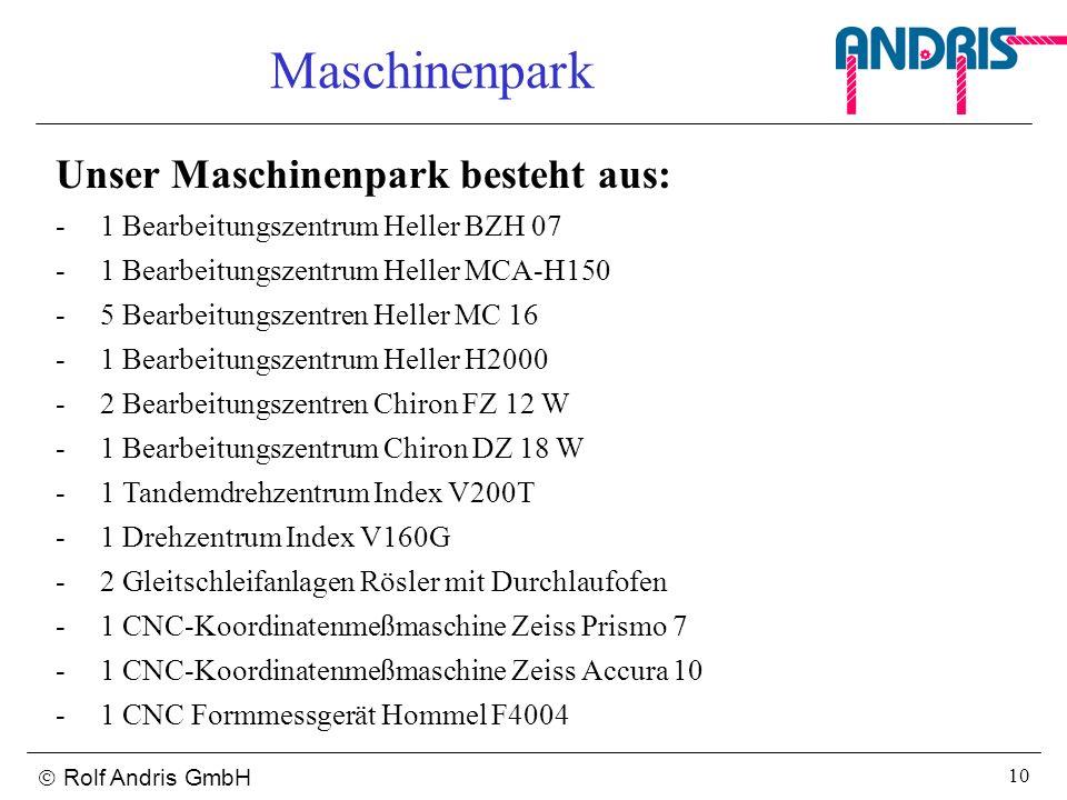Rolf Andris GmbH 10 Maschinenpark Unser Maschinenpark besteht aus: -1 Bearbeitungszentrum Heller BZH 07 -1 Bearbeitungszentrum Heller MCA-H150 -5 Bear